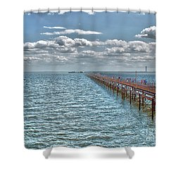Pier Into The English Channel Shower Curtain