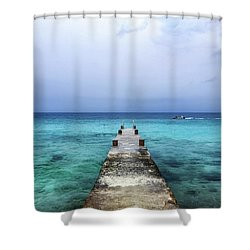 Pier On Caribbean Sea With Boat Shower Curtain