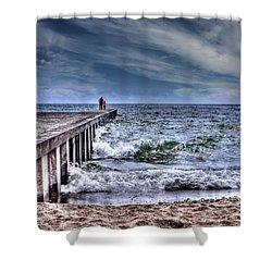 Pier On The Beach  Shower Curtain by Elaine Manley