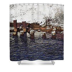 Pier Piles Shower Curtain by David Blank