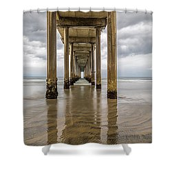 Shower Curtain featuring the photograph Pier Review by Dustin  LeFevre