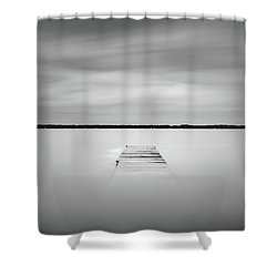 Shower Curtain featuring the photograph Pier Sinking Into The Water by Todd Aaron
