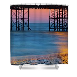 Pier Supports At Sunset I Shower Curtain
