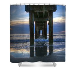 Pier View At Dawn Shower Curtain by Myrna Bradshaw
