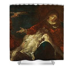 Shower Curtain featuring the painting Pieta With Mary Magdalene by Giuseppe Bazzani