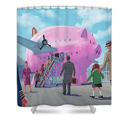 Pig Airline Airport Shower Curtain by Martin Davey