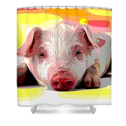 Shower Curtain featuring the mixed media Pig In A Poke by Charles Shoup