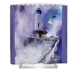 Pigeon Lighthouse With Fog Shower Curtain