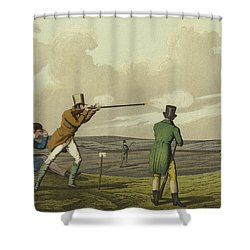 Pigeon Shooting Shower Curtain by Henry Thomas Alken