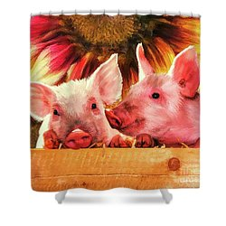 Piglet Playmates Shower Curtain by Tina LeCour
