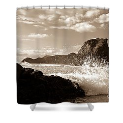 Piha New Zealand Waves Shower Curtain