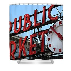 Shower Curtain featuring the photograph Pike Street Market Clock by Peter Simmons