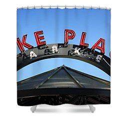 Shower Curtain featuring the photograph Pike Street Market Sign by Peter Simmons
