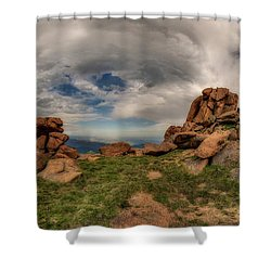 Shower Curtain featuring the photograph Pikes Peak Panorama by Chris Bordeleau