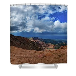 Shower Curtain featuring the photograph Pikes Peak Summit Vista #1 by Chris Bordeleau