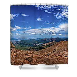 Shower Curtain featuring the photograph Pikes Peak Summit Vista #2 by Chris Bordeleau