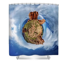 Shower Curtain featuring the photograph Pikes Peak Tiny Planet #1 by Chris Bordeleau