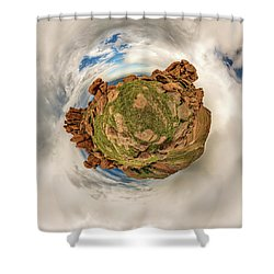 Shower Curtain featuring the photograph Pikes Peak Tiny Planet #2 by Chris Bordeleau