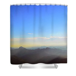 Pilchuck And Three Sisters Sunrise Shower Curtain