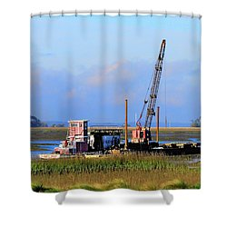Pile Driving Machine Shower Curtain by Laura Ragland