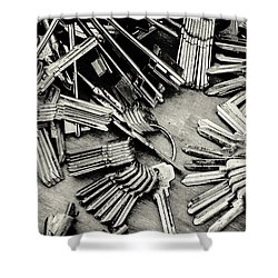 Piles Of Blank Keys In Monochrome Shower Curtain