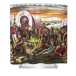 American    History  Pilgrims On The Plain Shower Curtain