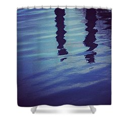 Piling Reflection Shower Curtain by Heather Classen