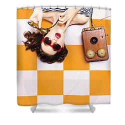 Shower Curtain featuring the photograph Pin-up Beauty Decision Making On Old Phone by Jorgo Photography - Wall Art Gallery
