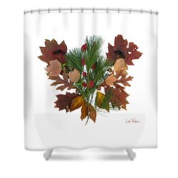Shower Curtain featuring the digital art Pine And Leaf Bouquet by Lise Winne
