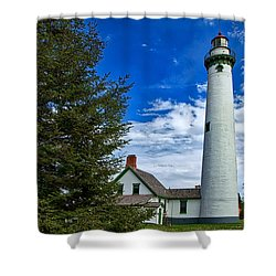 Pine At New Presque Isle Light Shower Curtain
