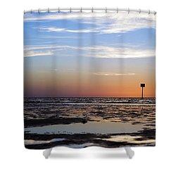 Pine Island Sunset Shower Curtain by Beverly Stapleton