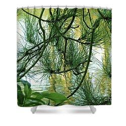 Pine Needles Patchwork Shower Curtain