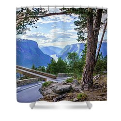 Shower Curtain featuring the photograph Pine On Stegastein by Dmytro Korol