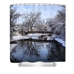 Pine River Foot Bridge From Superior In Winter Shower Curtain