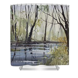 Pine River Reflections Shower Curtain by Ryan Radke