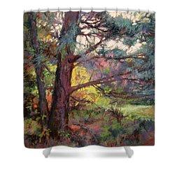 Pine Tree Dance Shower Curtain by Donna Shortt