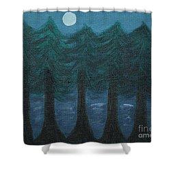 Pine Tree Lake Shower Curtain