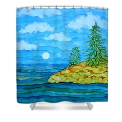 Pine Tree Moon And Water Painting Shower Curtain