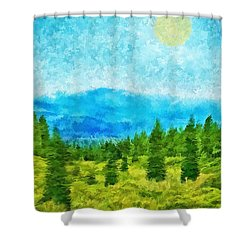 pine tree mountain blue shasta california shower curtain