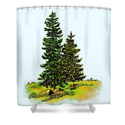 Pine Tree Nature Watercolor Ink Image 2b        Shower Curtain