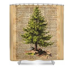 Pine Tree,cedar Tree,forest,nature Dictionary Art,christmas Tree Shower Curtain