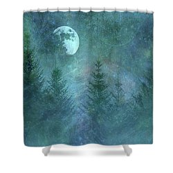 Pine Trees Under Moon Shower Curtain