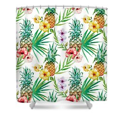 Pineapple And Tropical Flowers Shower Curtain