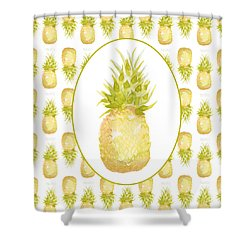 Shower Curtain featuring the painting Pineapple Cameo by Cindy Garber Iverson