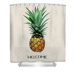 Pineapple Express On Mottled Parchment Welcome Shower Curtain by Elaine Plesser