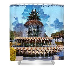 Shower Curtain featuring the painting Pineapple Fountain by Lynne Jenkins