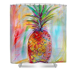 Pineapple Mixed Media Painting Shower Curtain