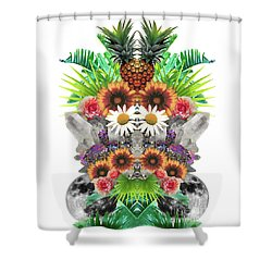 Pineapples And Crystals Shower Curtain by Tess Jene