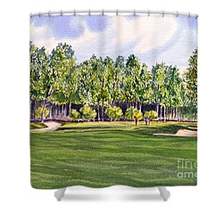 Shower Curtain featuring the painting Pinehurst Golf Course 17th Hole by Bill Holkham