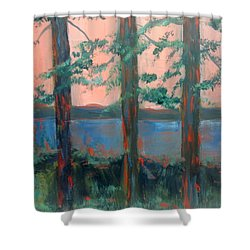 Pines At Dusk Shower Curtain